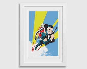 """James Bond Screen Printed Thunderball Movie Poster Artwork • 12""""x18"""" poster •Sean Connery with a Jetpack Flying Secret Agent Spy"""