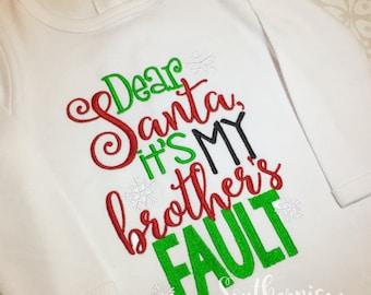 Christmas Shirt, Personalized Christmas Shirt, Sibling Christmas Shirt, Dear Santa, Personalized Holiday Shirt, Christmas set, embroidery