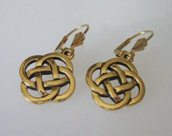 Gold Celtic Earrings, Open Celtic Knot, Celtic Knot Jewelry, Lead Free Pewter Metal Drop, Lever back Dangle Earrings