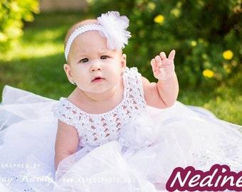 Crochet baby dress pattern, crochet tulle dress pattern, 0-36 months size, Instant Download pattern