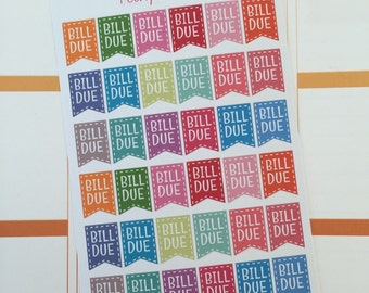 Bill Due Planner Stickers | Erin Condren, Kikki K, A5, Personal