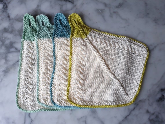 Knitting pattern: cotton knit towel. Lovely hostess gift. Cable knit towel. Cute small towel. Cute washcloth with loop. Original design.