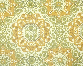 Retro Wallpaper by the Yard 70s Vintage Wallpaper - 1970s Gold and Green Snowflake Geometric Wallpaper