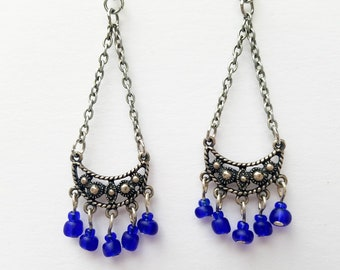 Vintage Bottle-Blue Crescent Earrings