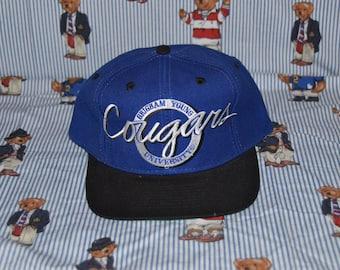 Vintage 1990's BYU Cougars Hat!!! NCAA Brigham Young University Circle Logo The Game Snapback!!!