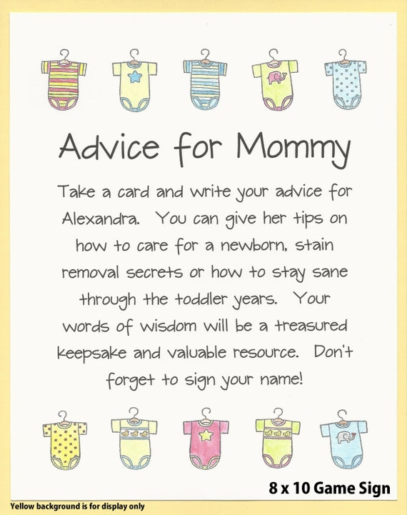 advice for mommy daddy baby shower game wishes for moms. Black Bedroom Furniture Sets. Home Design Ideas