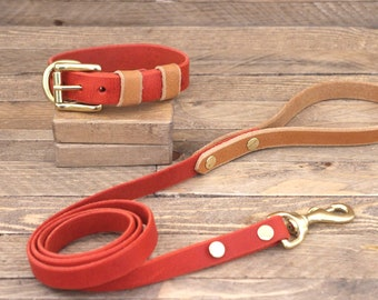 Dog collar, Leather dog leash, FREE ID TAG, Brass hardware, Cayenne colour, Whiskey colour, Dog collar and leash set, Simple collar.