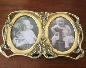 Art Nouveau style brass double photo frame Table top display Vintage home