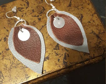 Two Layered Leather Leaf earrings.