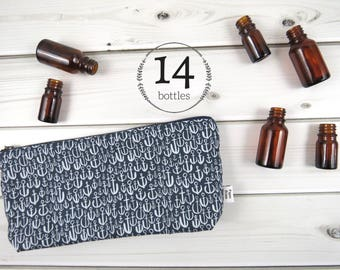 Classic Essential Oil Bag - Anchor  - 14 bottles - cosmetic bag zipper pouch essential oil bag project READY TO SHIP