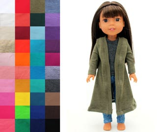 Fits like Wellie Wishers Doll Clothes - Duster Cardigan, You Choose Color and Sleeve Length | 14.5 Inch Doll Clothes