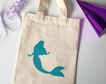 Mermaid mini tote bag, Girl birthday party bag, gift for girl. Little mermaid birthday party gift. Kids children party idea. 100% cotton