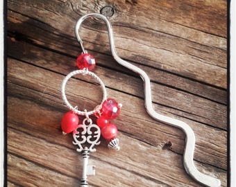 Silver charm bookmark red beads
