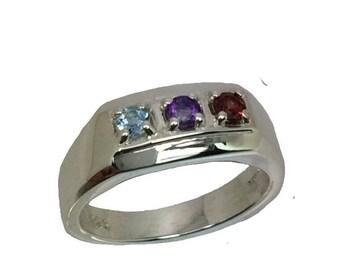 Natural Amethyst, Garnet & Aquamarine Silver Men's Ring, Free Sizing