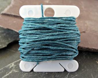 4 Ply Teal Waxed Irish Linen Thread 10 Yards WIL14,teal linen thread,bookbinding thread,teal waxed linen,waxed linen thread,waxed linen cord