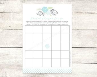 bridal shower bingo game card printable DIY blue bouquet wedding shower bingo polka dots bridal shower digital games - INSTANT DOWNLOAD