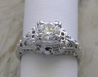 Antique Diamond Engagement Ring Filigree Designing