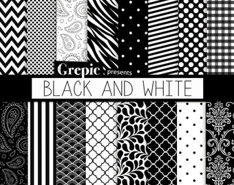 """Black and white digital paper: """"BLACK AND WHITE"""" backgrounds with chevrons, damask, polkadots, stripes, quatrefoil, gingham & paisley"""