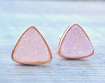 White druzy studs, rose gold earrings, triangle earrings, geometric earrings, bridesmaid jewelry, rose gold earrings, raw stone earrings
