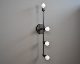 Matte Black Vertical 4 Light Wall Sconce 4 Bulb Offset Modern Mid Century Industrial Light Bathroom Vanity UL Listed