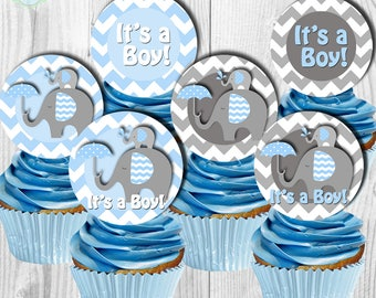 ELEPHANT Baby Shower Cupcake Toppers, Baby Shower Cupcake Picks, Digital File, You Print