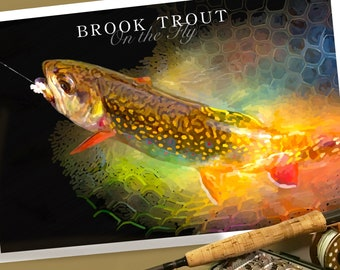 Brook Trout On the Fly Illustration Poster Print 19 x 13