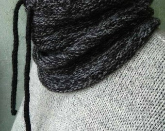 Chunky snood scarf Black cowl neck hand knitted Wool chunky snood Winter mens fashion Wool hooded scarf Outdoor-gift Melange black scarf men