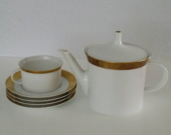 Rosenthal Tea Pot 1 Cup, and 4 Saucers. White with Gold Band.