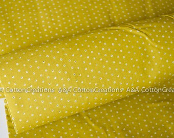ORGANIC Two Tone Tiny Mustard Cotton Fabric, Quilting Weight, Garden Secrets Collection from Cloud9