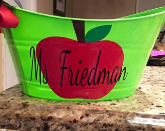 Personalized Teacher Name Bin with Apple Decal- Teacher Bin- Teacher Gift- Teacher Thank You- Teacher Appreciation - End of The Year Gift