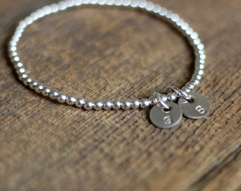 Sterling initial bracelet - sterling silver beads and silver initials - hand stamped by rawkette