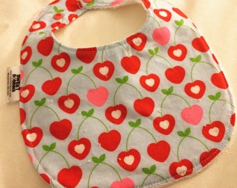 Cherry Love - Infant or Toddler Bib - Terry Cloth Backing - Reversible with ADJUSTABLE Snaps