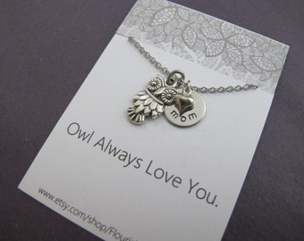 Gift for Mom / Owl Always Love You /  Mothers Day Gift / Gift for Her/ Owl necklace / Owl Jewelry /
