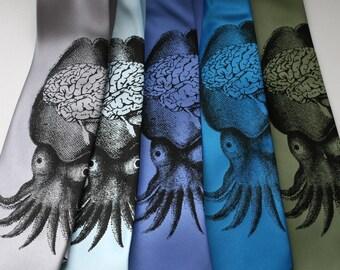 """Squid Necktie. Octopus and brain """"Smart Squid"""" men's tie. Black screenprint on oceanic blue tie and more."""