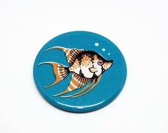 Soviet vintage fish pinback button - Blue nautical pin badge - Vintage metal fish badge - Collectible vintage fish pin badge - Made in USSR