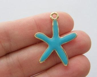 4 Starfish blue charms light gold tone GC466