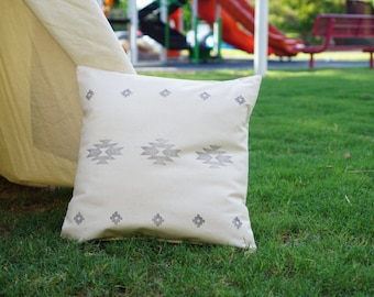 Aztec hand stamped pillow cover with nature unbleached canvas