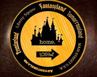 Magic Kingdom HOME sign with Lands around the Kingdom - original fonts