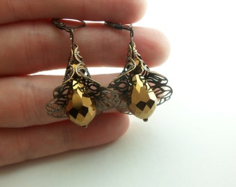 Gold Copper Dangle Earrings Antiqued Filigree Earrings Leverback Victorian Earrings