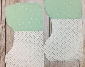 TWO Patchwork Contoured Burp Cloths - Mint and Gray- Gender Neutral Burp Cloth Set, Burp Clothes, Burp Rags, Spit Up Towels, Baby Feeding