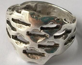 20% off Vintage Brutalist or Honeycomb Sterling Silver Ring