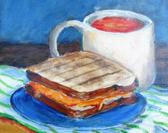 Grilled Cheese Sandwich and Tomato Soup painting, Original 9x9, sandwich art, kitchen art, Tomato soup art, Grilled Cheese Sandwich art
