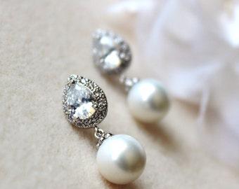 Pearl Bridal Earrings Pearl Wedding Jewelry White Pearl Earrings Teardrop Cubic Zirconia Post Earrings Wedding Jewelry