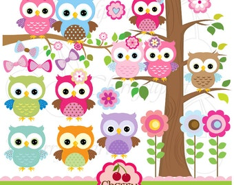 Cute Owls Digital Clipart Elements Set NO.AN022