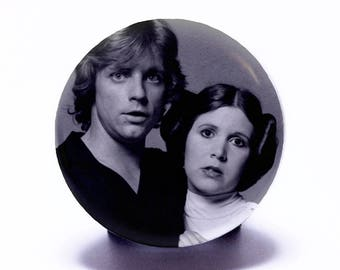 """Star Wars Pin, Luke Skywalker Princess Leia Black and White (1.25"""" pin back button badge) Carrie Fisher Use The Force Collectible Pin #25"""