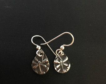 Small silver dragonfly ear wire earrings.