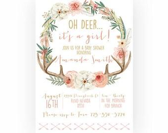 Woodland Baby Shower Invitation Girl, Boho, Oh Deer, Antler, Rustic  (374)