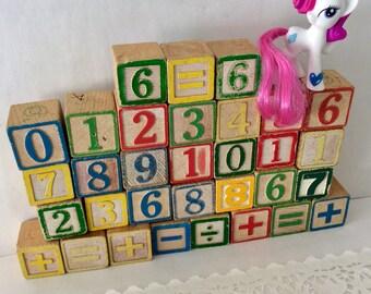 Wooden Blocks- number Blocks - homeschooling - stacking cubes - toddler toys - Nursery Decor  - baby shower - Classic Children
