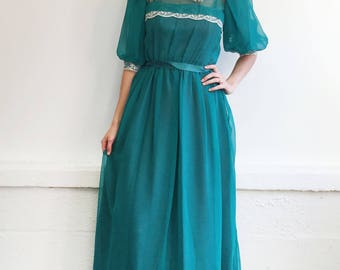 70s Teal Sheer Dress - Lace Details - ILGWU
