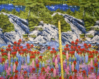 Mountains w Snow Nature Flowers Trees  BY YARDS  Cotton Timeless Treasure Fabric